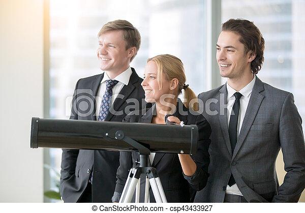 groupe, télescope, professionnels, optique, sourire - csp43433927