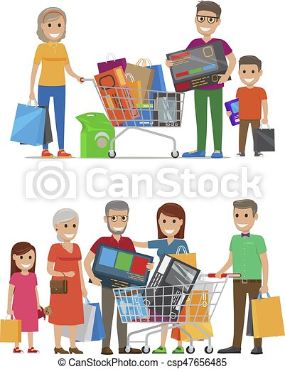 Groups of People Standing with Bags and Packs - csp47656485