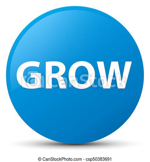 Grow cyan blue round button - csp50383691