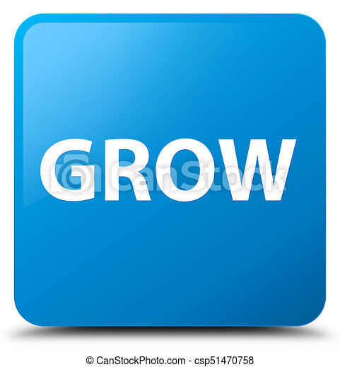 Grow cyan blue square button - csp51470758