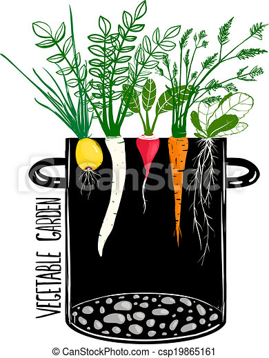grow vegetable garden and cook soup food illustration in clip rh canstockphoto com vegetable garden clipart black and white vegetable garden clip art free