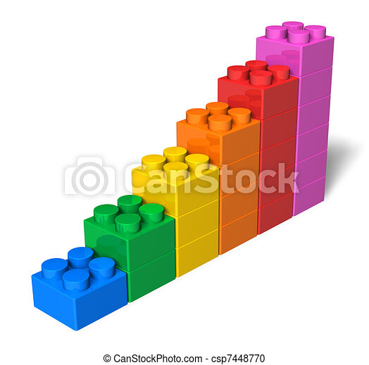 Growing bar chart from color toy blocks - csp7448770