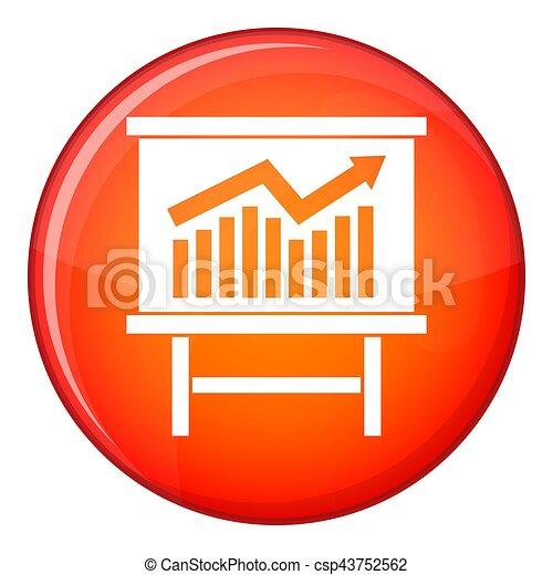Growing chart presentation icon, flat style - csp43752562