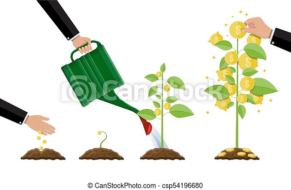 growing money tree stages of growing gold coins on vector rh canstockphoto com Growing Tree Clip Art Baby Grows Up Clip Art
