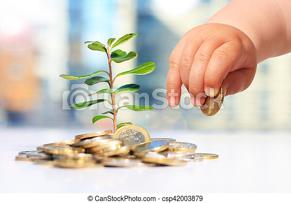 Growing plants and coins - csp42003879