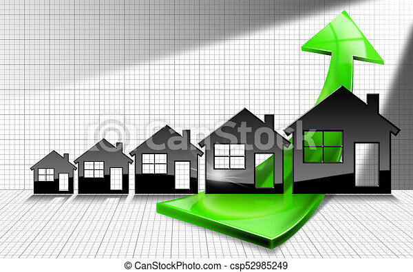 Growing Real Estate Sales Graph With Houses Growing Real Estate