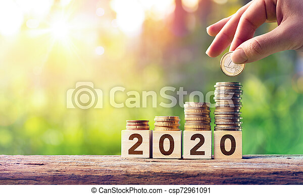 Growth Forecast Concept For 2020 - Coins Stack On Wooden Blocks - csp72961091