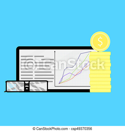 Growth of shares on financial market. Growth financial share stock market, finance money vector illustration, information rate and index value