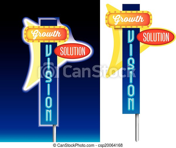 growth, vision and solution old style retro sign advertising - csp20064168