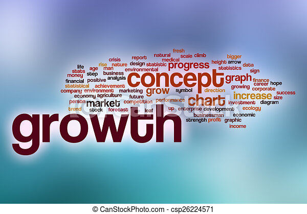 Growth word cloud with abstract background - csp26224571