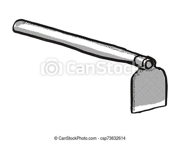 Grub Hoe Garden Tool Cartoon Retro Drawing Retro Cartoon Style