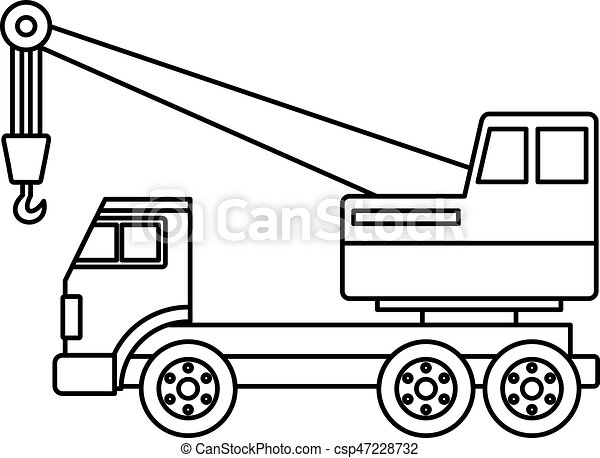 Grue Camion Contour Icone Style Contour Isole Illustration