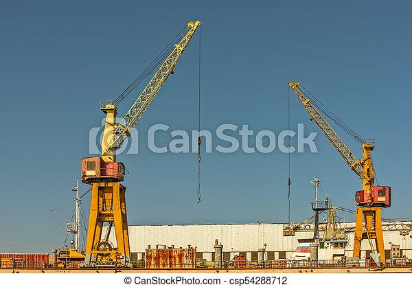 grues, jetée, deux, port - csp54288712