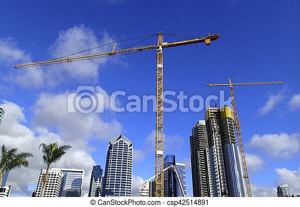 grues, ville, construction, gratte-ciel - csp42514891