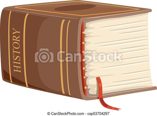 Ilustración De Historia De Libros Gruesos Ilustración Con Un Enorme Libro De Historia Amarillo Con Una Borla Roja Marcando Canstock