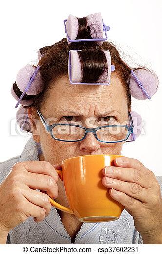 Grumpy Woman Drinking Coffee