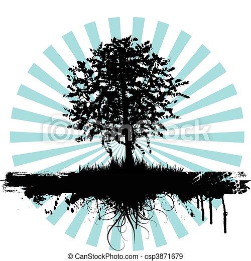 grunge, árvore - csp3871679