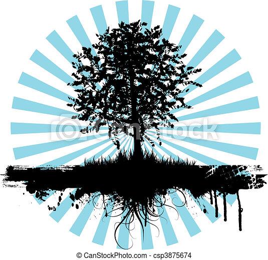 grunge, árvore - csp3875674