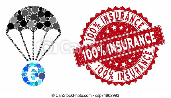 grunge, 100%, paracaídas, euro, sello, mosaico, seguro - csp74982993