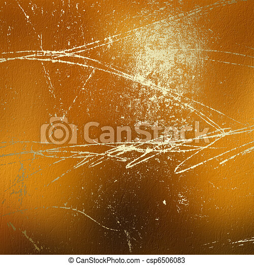 Grunge abstract background with gold classical pattern - csp6506083