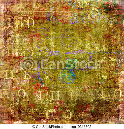 Grunge abstract background with old torn posters - csp19313302