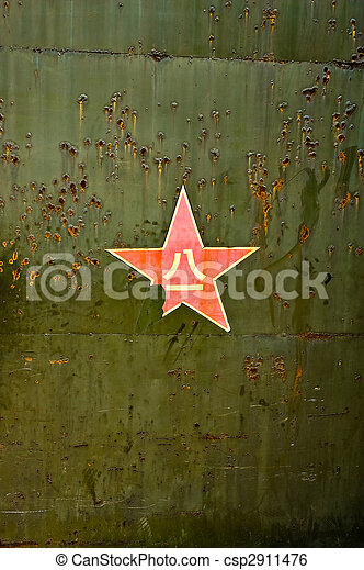 grunge, abstrakt, star., grön fond, militär, röd - csp2911476