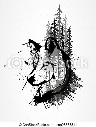 Abstract Griunge Wolfskopf