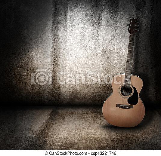 grunge, acoustique, fond, musique, guitare - csp13221746