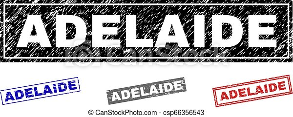 Grunge ADELAIDE Textured Rectangle Stamps - csp66356543