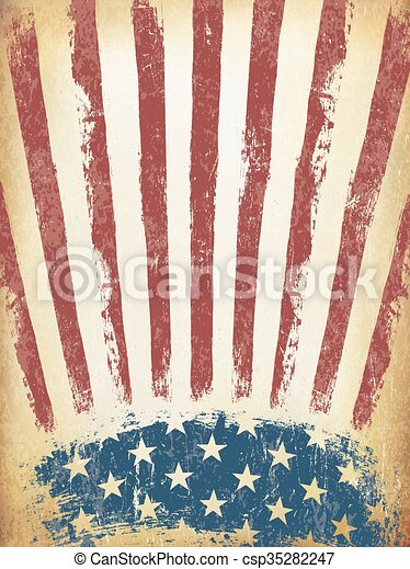 71d4665d0048 Grunge aged american flag background. vector template.