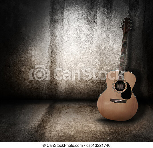 Akustikmusik-Gitarre Grunge Hintergrund - csp13221746