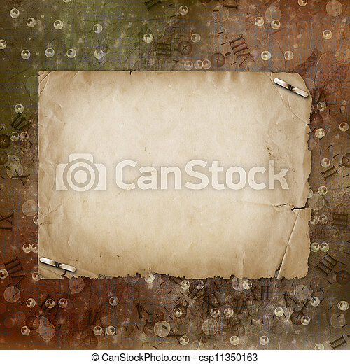 Grunge alienated paper design in scrapbooking style on the abstract background - csp11350163