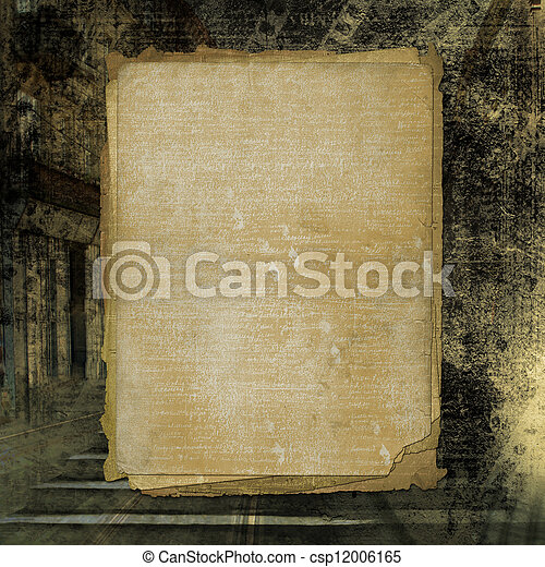 Grunge alienated paper design in scrapbooking style on the abstract background - csp12006165