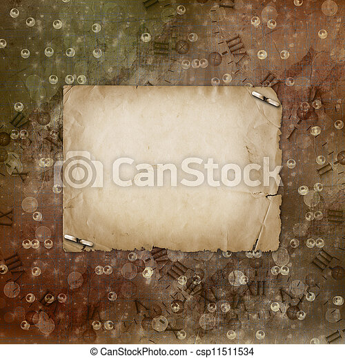 Grunge alienated paper design in scrapbooking style on the abstract background - csp11511534
