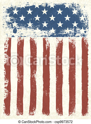 Grunge American flag background. Vector illustration, EPS 10. - csp9973572
