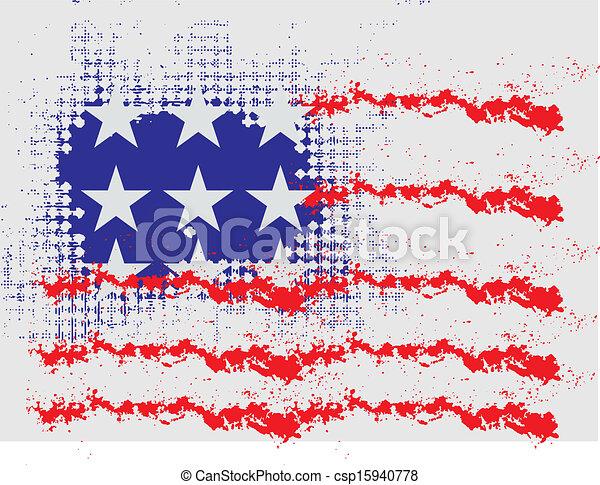 grunge american flag vector art - csp15940778