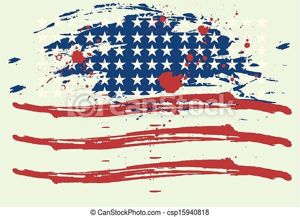 grunge american flag vector art - csp15940818