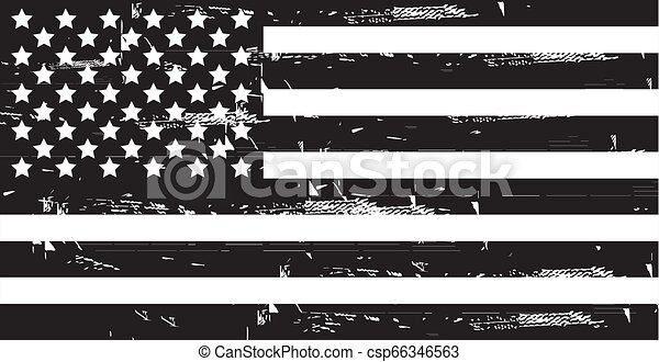 Grunge American flag. Vector dirty USA flag. - csp66346563