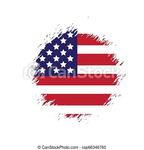 Grunge American flag. Vector dirty USA flag. - csp66346760