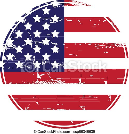 Grunge American flag. Vector dirty USA flag. - csp66346639