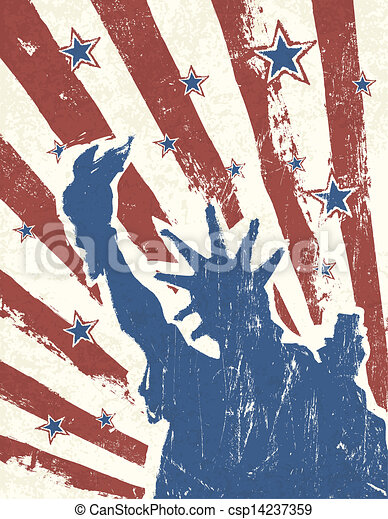 Grunge American Independence Day themed background. Vector. - csp14237359