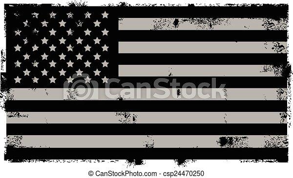 grunge, amerykanka, czarne tło - csp24470250