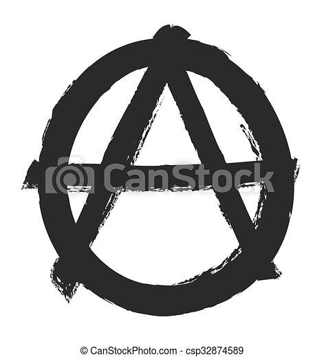 grunge anarchy symbol, vector - csp32874589