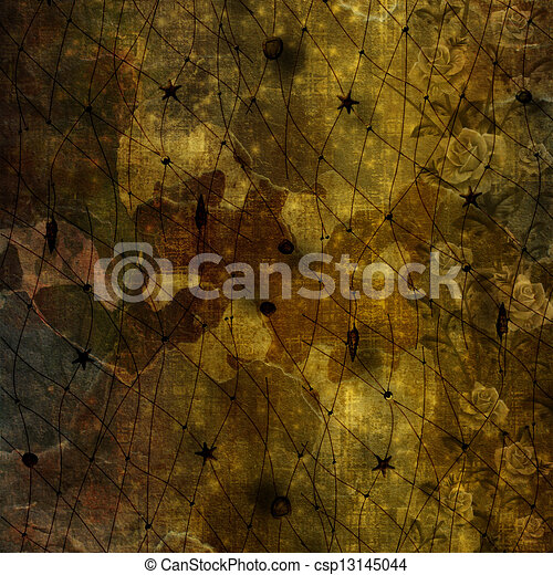 Grunge ancient used paper in scrapbooking style  - csp13145044