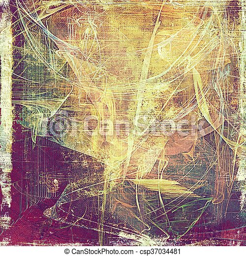 Grunge antique frame, vintage style background. With different color patterns: yellow (beige); brown; green; red (orange); purple (violet); pink - csp37034481