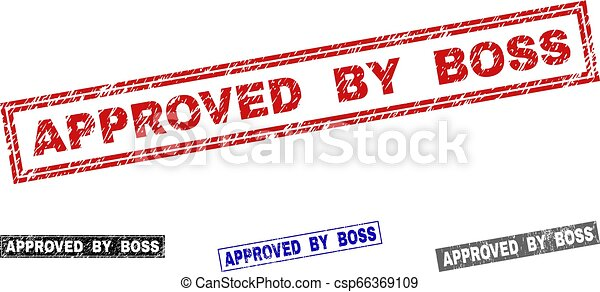 Grunge APPROVED BY BOSS Textured Rectangle Stamps - csp66369109