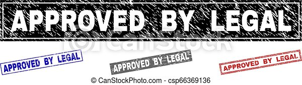 Grunge APPROVED BY LEGAL Scratched Rectangle Stamps - csp66369136