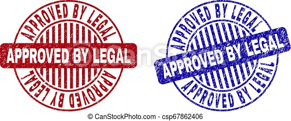 Grunge APPROVED BY LEGAL Textured Round Watermarks - csp67862406