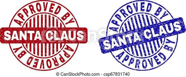 Grunge APPROVED BY SANTA CLAUS Textured Round Stamp Seals - csp67831740
