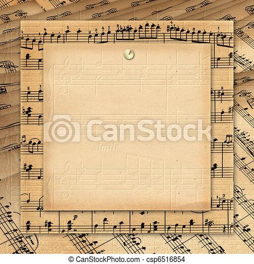 Marco para las invitaciones. Un fondo sucio. Un libro de música. - csp6516854
